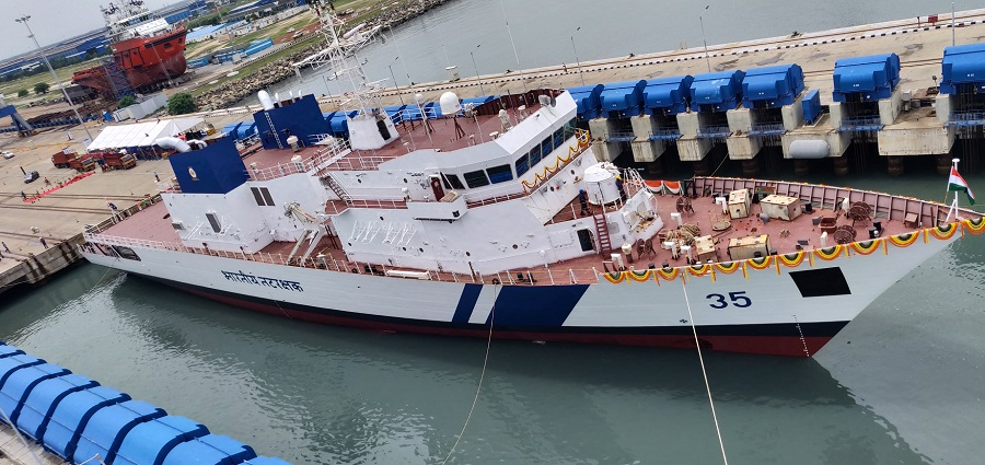 Coast Guard Launched It's Third Off Shore Patrol Vessel  in a Grand Ceremony at L & T Kattuppalli Shipyard