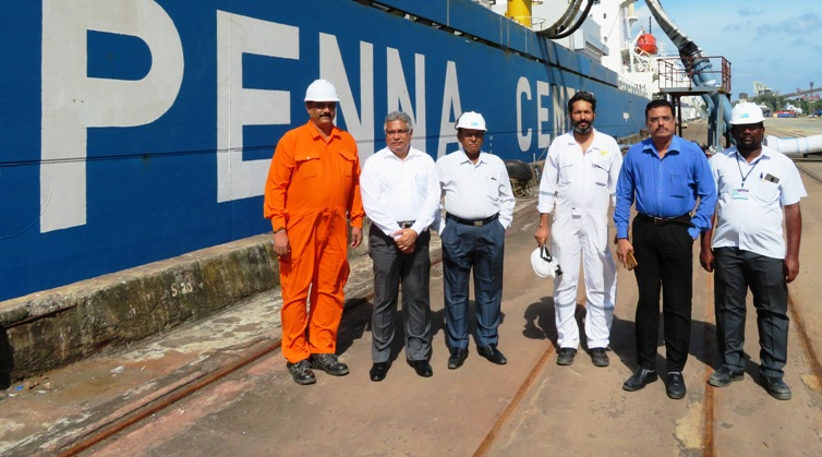 First ship arrives at Penna Cement Terminal at Cochin Port