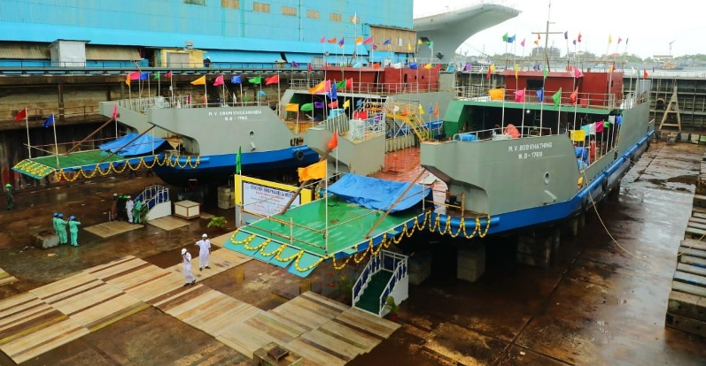 Cochin Shipyard Launches RO-PAX Vessels For Inland Waterways